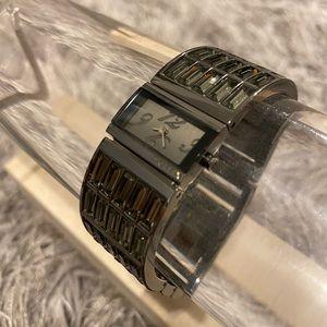 DKNY Black Rhinestone Watch Excellent Condition